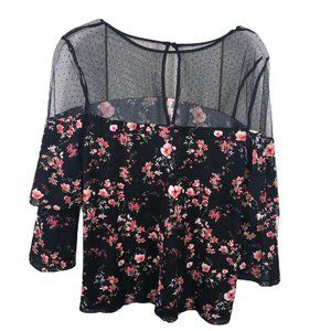 White House Black Market Floral Peasant Top
